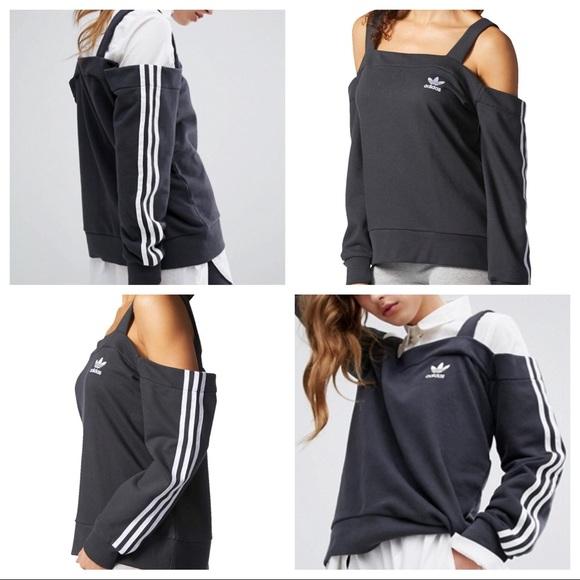 78d0d81521 adidas Tops | 3 Stripes Cold Shoulder Sweatshirt | Poshmark